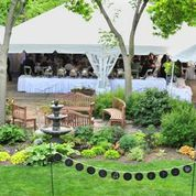 The side view of the Point Patio.  The tent is permanent and a large enough shelter if inclement weather arises.  The ceremony and reception can all be on the Point Patio overlooking Lake Galena.