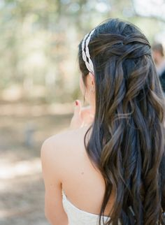 Nice, long wedding hair with headband - half pulled back