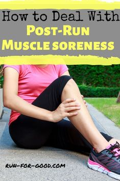 Post-run muscle soreness should go away on its own after a couple of days, here are some tips for dealing with it so you can get back to your training. Marathon Tips, First Marathon, Half Marathon Training, Marathon Running, How To Start Running, How To Run Faster, How To Run Longer, Running Diet, Running Workouts