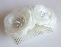 2 set of ivory bridal hair flower/ivory wedding by StacieRowie, $35.99