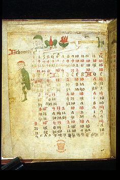 Astronomical calendar: February, from an English agricultural almanac, c.1420; the man digging represents the labour of the  month; the saints are represented by their symbolic attributes: Brigid (a fleur-de-lys), Blaise (a brasier), Agatha (a sword), Valentine (a bird). (Royal 17 A XVI f.5v). (The British Library)