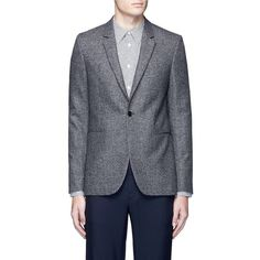 PS by Paul Smith Slim fit wool birdseye blazer ($600) ❤ liked on Polyvore featuring men's fashion, men's clothing, men's sportcoats and slim fit mens clothing