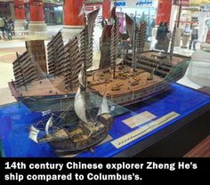 Zeng He vs Columbus, the Ming Dynasty sent 60 ships nearly triple the size of Columbus's boat. And he only had three. GREAT discussion of research here: http://www.reddit.com/r/AskHistorians/comments/2cfkg4/saw_a_photo_of_chinese_explorer_zheng_hes_ship/
