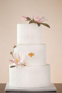 Honeycomb Wedding Cake #brideside #wedding #cake #white