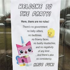 Princess Unikitty party rules décor sign for our Lego Movie themed birthday party.  Click or visit FabEveryday.com for more photos and instructions for many Lego-themed party DIY projects
