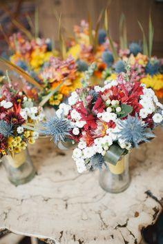 Colorful Bridal Party Bouquets #thistle #weddingbouquet #bridalbouquet #yellow #orange #poppy