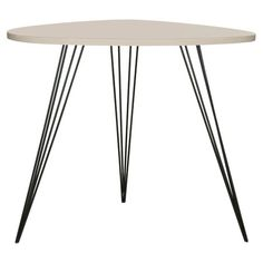 Pairing metal hairpin legs with a glossy lacquer top, this sleek end table brims with contemporary style.   Product: End table