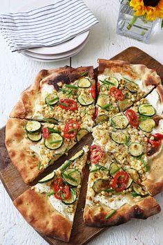 Ricotta Summer Vegetable Pizza - in sock monkey slippers
