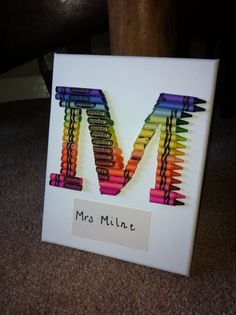crayon art letter m teacher gift teacher present
