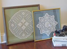 using doilies in picture frames | Framed Doilies