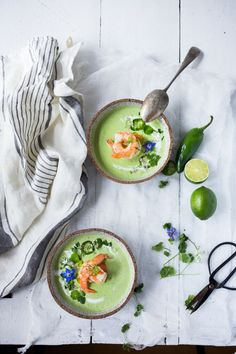 Cool & refreshing Cucumber Gazpacho with yogurt, cilantro, coriander and lime. Top this with shrimp or keep it vegetarian! So tasty. | www.feasingathome.com