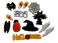 Jesse James Dress It Up Spooktacular Embellishments includes ghosts, jack-o-lantern, cats, candy corn, spider web, Halloween and Boo. Jesse James Embellishments are great to add to clothing apparel, home decor projects, paper crafts and more. Great to use at home, school, church or camp. Contents of each package are subject to change and may not always be exactly as pictured. Size is approximately 1/2 to 2 inch. Shank. 12 pc.