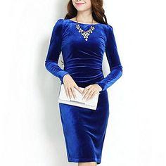 λεπτή χρυσό βελούδινο μακρύ φόρεμα των γυναικών (περισσότερα χρώματα) – EUR € 65.42