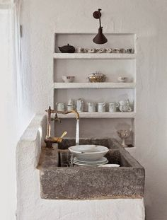 Built In Shelves Porcelain Storage September 2014 Issue Pepa Poch Brass  Faucet Stone Sink Wall Sconce