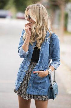 loose'ish skirt, dark shirt and that great longer jean jacket. MaryJane's or flats. KL