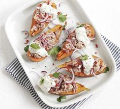 Tuna sweet potato jackets. If your standby supper is baked potatoes with tuna, switch to sweet potatoes and a fresh, spicy topping - budget-friendly and low-fat too.