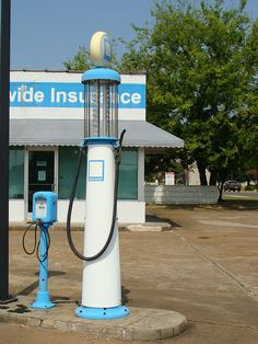 Old style gas pump & air pump