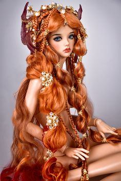 Lincoln sheep hairs custom BJD wig with exquisite decorations in the style of oriental fairy tales. www.amadiz-studio.com/