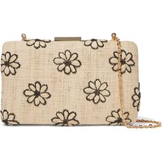 Kayu Daisy embroidered woven straw clutch ($230) ❤ liked on Polyvore featuring bags, handbags, clutches, braided purse, clasp purse, beige handbags, daisy handbag and straw purse