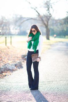 Emerald Green, white tee, leopard clutch, flare jeans