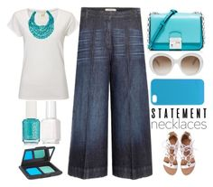 """""""turquoise statement necklace"""" by juliehalloran ❤ liked on Polyvore featuring White Stuff, NAKAMOL, Michael Kors, Dorothee Schumacher, JanSport, Gucci, Essie, NARS Cosmetics and statementnecklaces"""