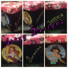 Hand painted toybox for sisters, jasmine and jessica