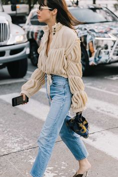 How to style denim with a blouse