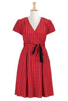 Heart Print Dresses, Surplice V-Neck Dresses Shop women's long sleeve dresses - Women's designer dresses: Casual Cotton, Long, Fall & Knit D...