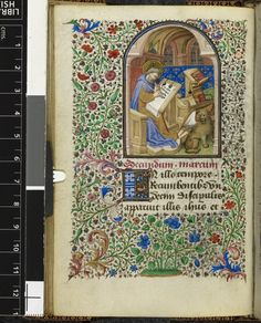you can actually read the opening words of Mark's gospel on the manuscript he is writing. Mark BL Yates Thompson 3
