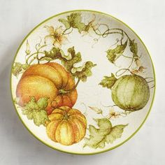 Here's one way to get your vegetables with every meal. Each glazed earthenware piece features a harvest of fresh-picked pumpkins. So even if your plate, bowl or mug is empty, it will be filled with garden-fresh gourds. Thanksgiving Dinnerware, Harvest Garden, China Painting, Dinnerware Sets, Dinner Sets, Pottery Painting, Fall Pumpkins, Dinner Plates, Fall Decor
