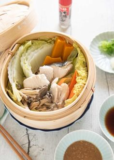 Hero shot of Steamed Chicken and Fish with Vegetables served with two dipping sauces. Japanese Grocery, Japanese Food, Pickled Celery, Main Dishes, Side Dishes, Steamed Chicken, Vegetable Prep, Sesame Sauce, Chicken