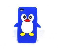 Iphone4 4s cover Pinquin Kleur blauw Materiaal rubber Maat 12 cm hoog, 6,5 cm breed