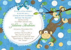 Monkey Baby Shower Invitation - Baby Boy Shower Invite You Print Digital File. $16.00, via Etsy.