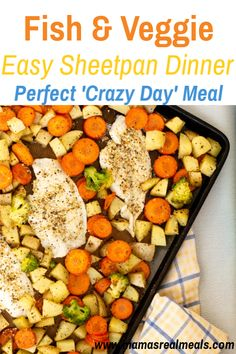 Looking for a quick and easy dinner idea? This fish and veggie sheetpan dinner is easy to throw together, and bakes quickly for a simple dinner for families!