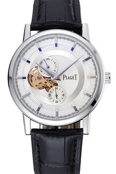 Buy Replica Piaget Altiplano Chronograph White Dial Silver Steel Case and Bezel Mens Watch with Black Leather Strap