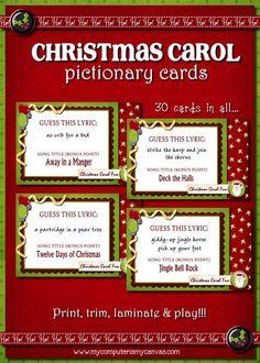 Christmas Carol Pictionary Game