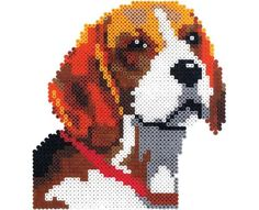 Connect four large square Perler pegboards to create this great beagle portrait. Look for the other dogs in this series--a Dalmatian, boxer, and shepherd!