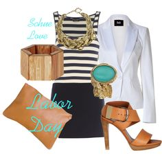 grey and white striped dress (instead of skirt and shirt), gold necklace, aqua earrings, navy or white blazer, brown sandals
