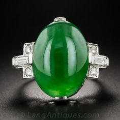 Vintage Natural Burma Jade Platinum Diamond Ring