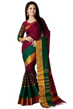 Maroon and Green Cotton Saree is Made of Cotton Silk With Embroidery Work on it. Maroon and Green Cotton Silk Saree Has Stripe Pattern and Border of Cotton Saree Has Dull Golden Color which makes Silk Saree Attractive. Cotton Silk Saree for Women Is Perfect Match For Wedding and Party Wear. Fancy Saree Has Length of 5.5 m With 0.8 m Blouse Piece. Wash Care : Dry Clean Only   Dry Low Warm Iron If Needed   NOTE : There Might Be Little Shade Variation Between Actual Product And Image Shown On…