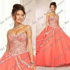 Elegant 2015 Sweetheart Beaded Rhinestones Coral Quinceanera Dresses Debutante Masquerade ball gowns Vestido de 15 anos princesa