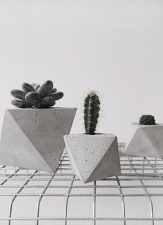 mini octahedron concrete planter by frauklarer