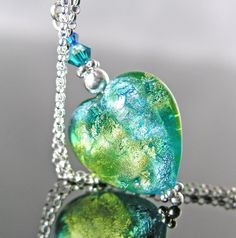 Green Blue Heart Necklace Sterling Silver by DorotaJewelry on Etsy