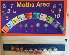 Early years maths area display! Counting, number, numicon, money display. Maths Eyfs, Eyfs Classroom, Classroom Displays, Early Years Maths, Early Years Classroom, Early Years Displays, Maths Display, Numicon, Maths Area
