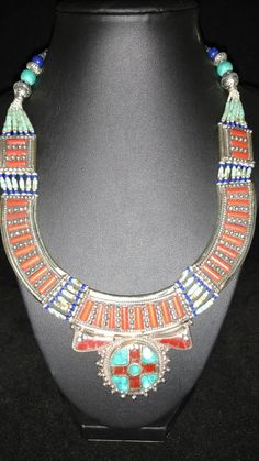 Turquoise, Lapis, and Red Coral Necklace by KarinsForgottenTreas on Etsy