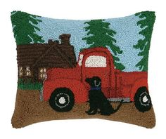 Hand-hooked wool pillow features a black lab sitting by a red truck at the cabin. Velveteen backing, zipper closure, polyester fill, x dog lover gift Red Throw Pillows, Wool Pillows, Decorative Throw Pillows, Wool Rug, Rug Hooking Patterns, Cushion Pads, Dog Lover Gifts, Lumbar Pillow, Truck