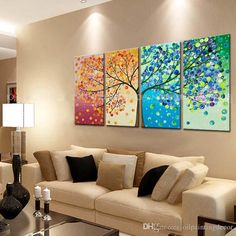 Hand Painted 4 Season Tree Painting On Canvas Home Decoration Modern Wall Art Abstract Colorful Oil Picture Set from Oilpaintingdecor,$28.59 | DHgate.com