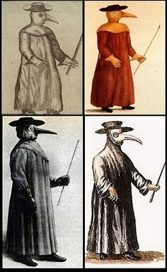 """Masks worn by doctors during the plague; the beak was packed with aromatic herbs thought to protect them from the disease. Some of the scented materials were ambergris, balm-mint leaves, camphor, cloves, laudanum, myrrh, rose petals, storax. This was thought to protect the doctor from miasmatic bad air. The straw provided a filter for the """"bad air"""". A wooden cane pointer was used to help examine the patient without having to touch them."""