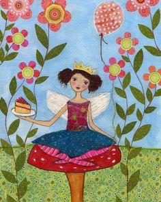 Toadstool Fairy Art Print, Large Poster Print 16 x 20 Inches, Nursery Art Print, Nursery Decor. $55.00, via Etsy.