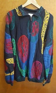 Coogi Australia Men's 3XL Bright Mult-Color Mercerized Cotton Sweater